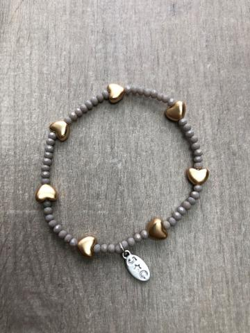 Rose gold heart and grey bead bracelet