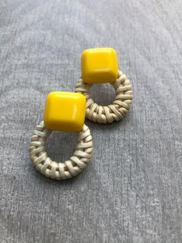 Yellow wicker stud earring