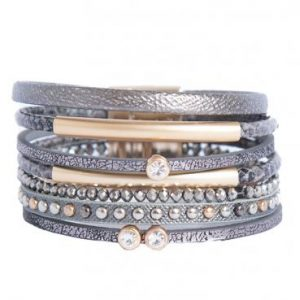Metallic grey wrap bracelet