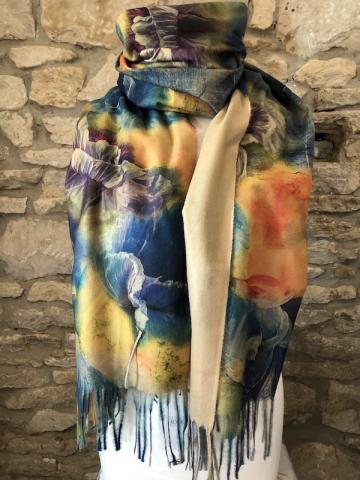 NEW Floral watercolour reversible scarf cream BEST SELLER